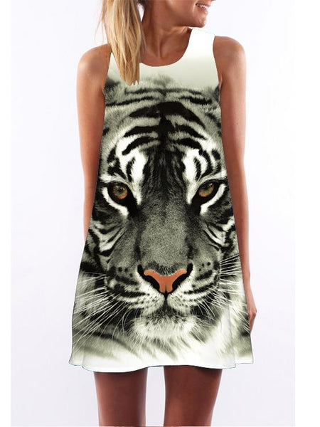 Tiger Pattern Printed Loose Dres