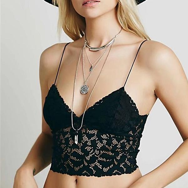 Triangle Slip Lace Wire Free Sexy Bra