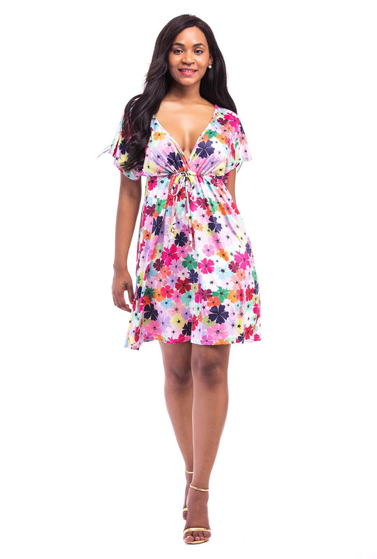 V-Neck Floral Printed Dress