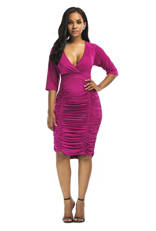 V-Neck Dobras Bodycon Dress