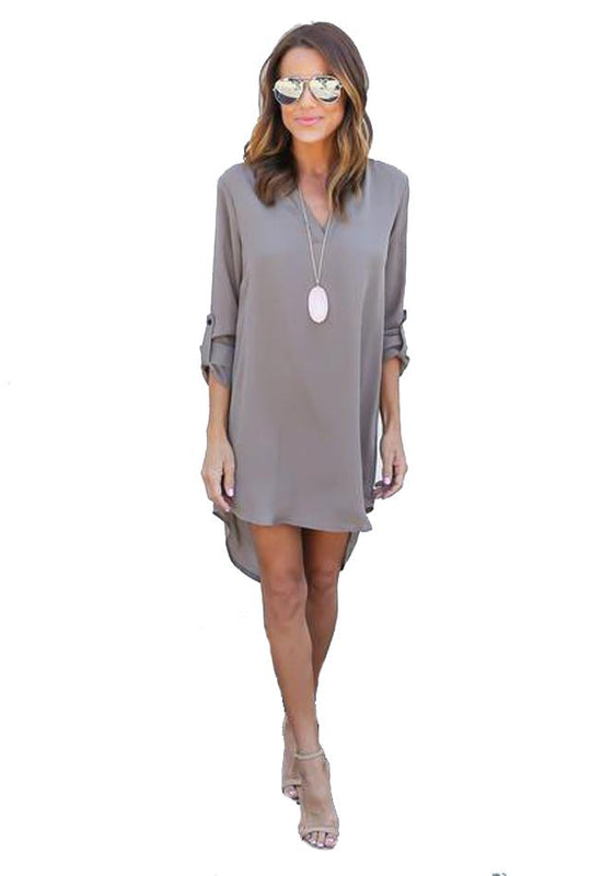V-Neck Long Sleeve Chiffon Dress-Dress-2ubest.com-2UBest.com