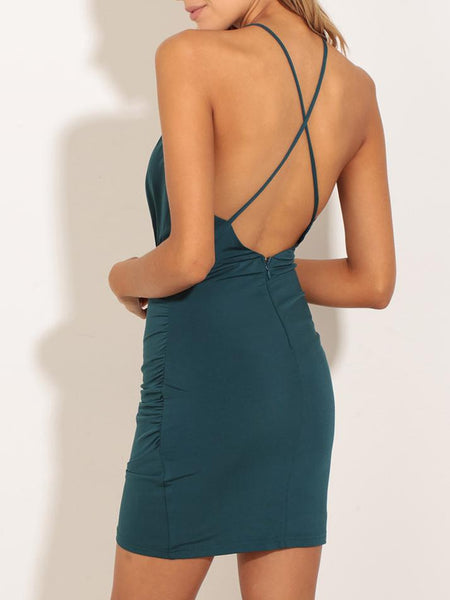 V-Neck Slip Halter Dress