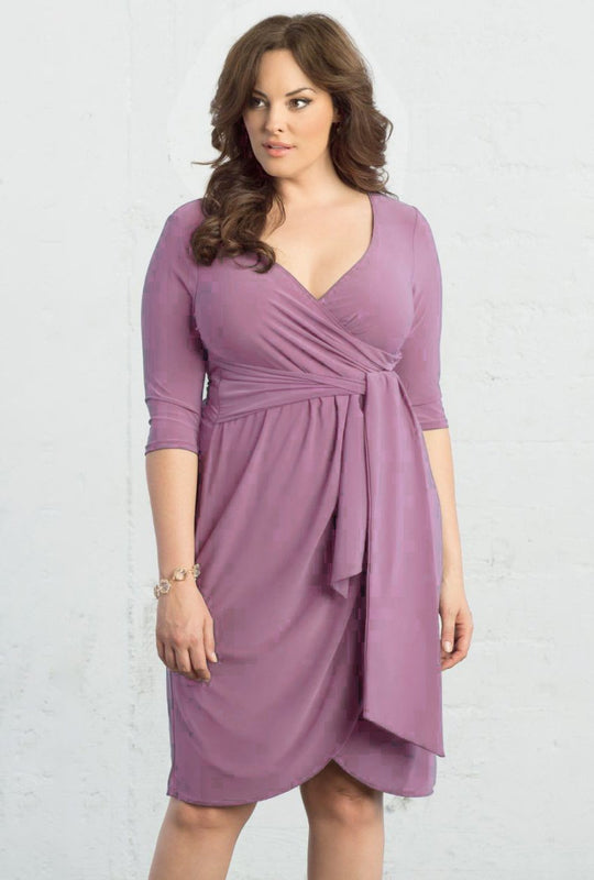 V-Ausschnitt Solid Color Dress