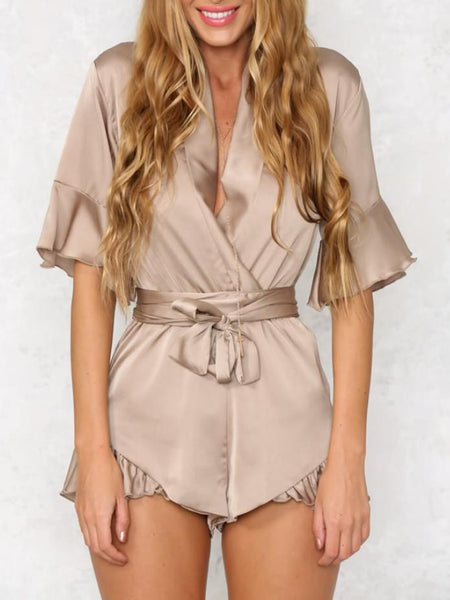 V-Neck Solid Color Jumpsuits