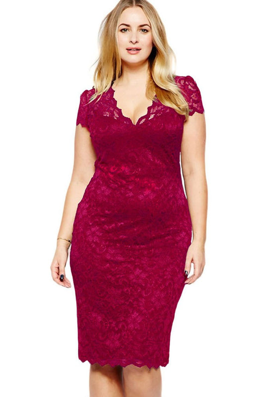V-Neck Solid Color Lace Dress