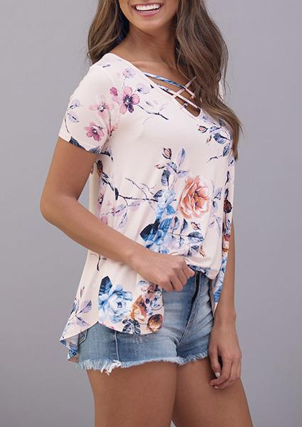 V-neck Cross Digital Printing Fashion Short Sleeve Blouse