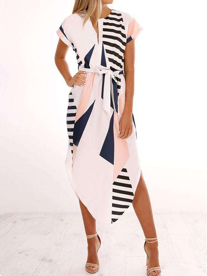 Printing Geometric V-Neck Casual Dress