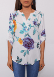 V-neck Flower Printing Blouse
