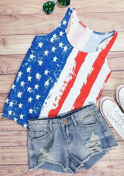 American Flag O-Neck Printed Tank