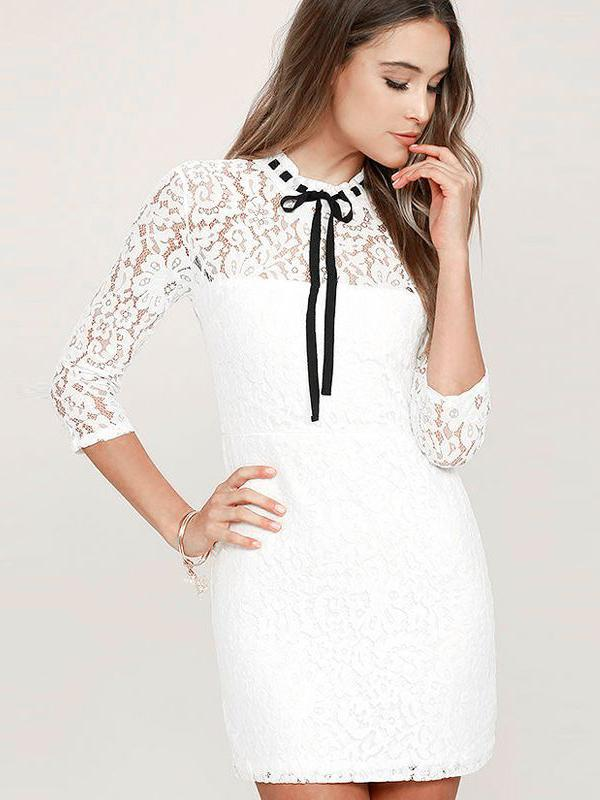 White Lace Veil Dress