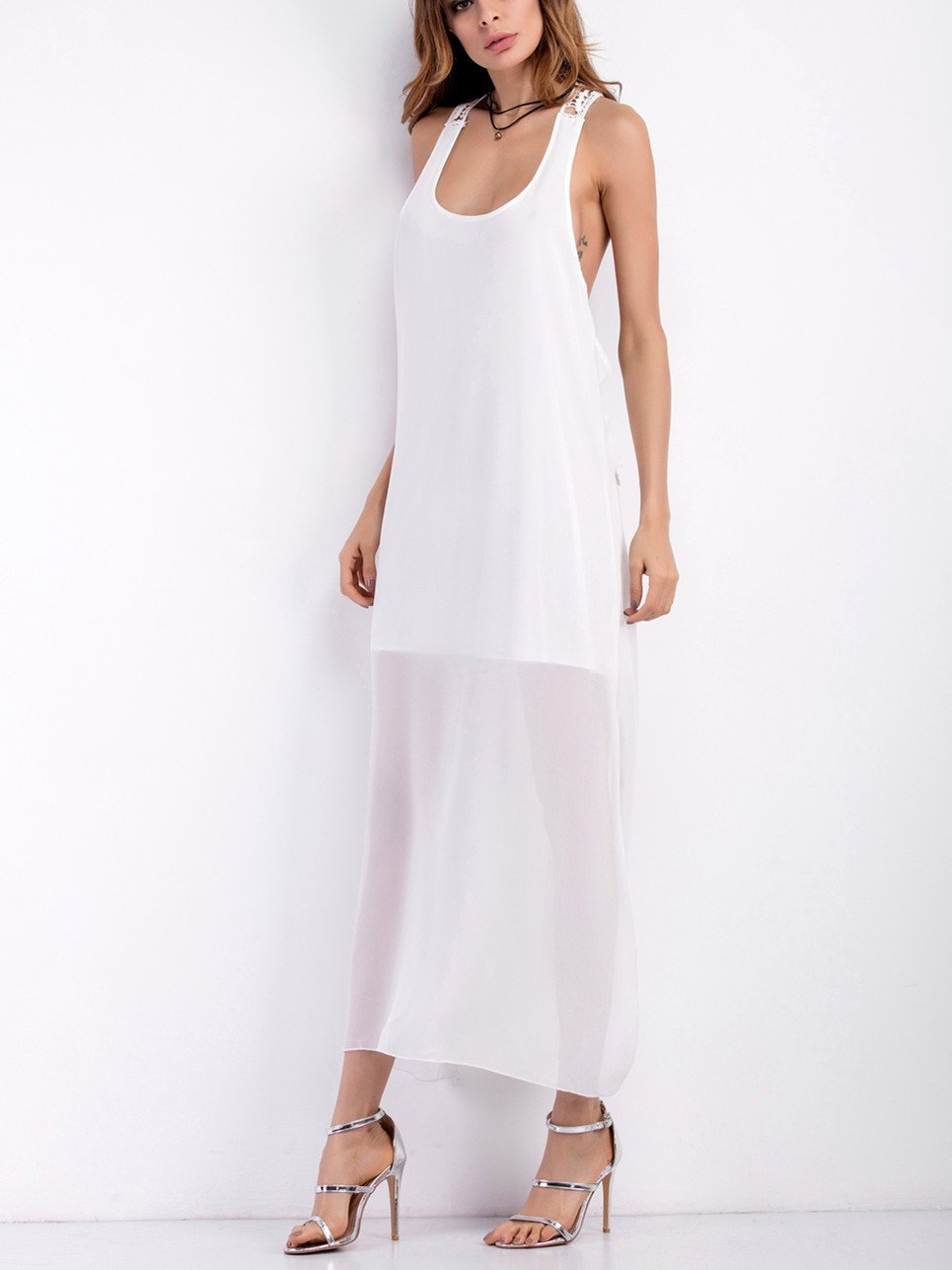 White O-Neck Slip Halter Dress