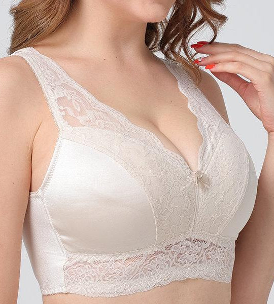 Wire-Free Push-Up Vest Lace Bra