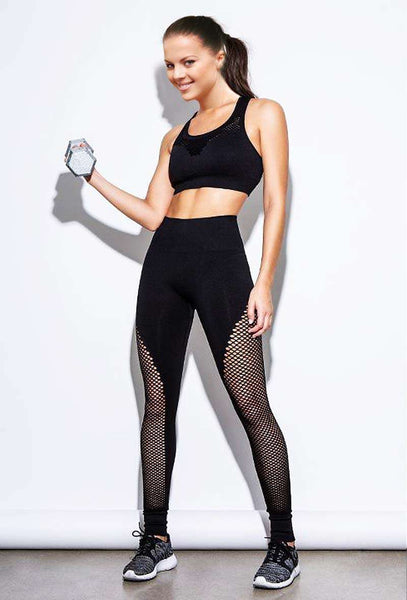 Hight cintura costura Mesh Yoga Pants-Mesh Leggings-2ubest.com-2UBest.com