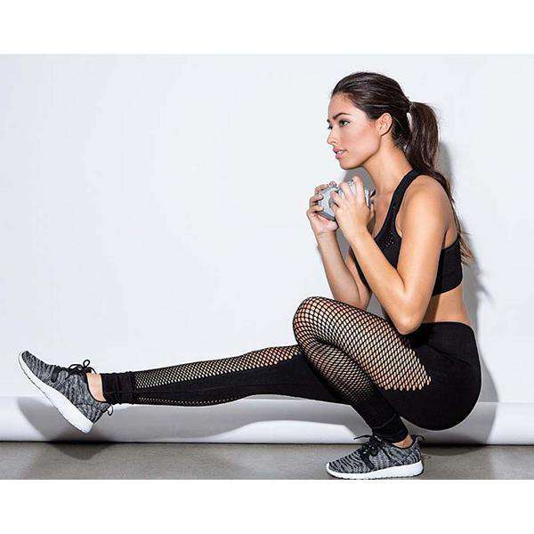 Femmes taille haute maille coutures yoga leggings
