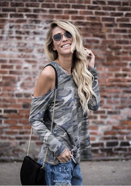 Women Strapless Camouflage Long Sleeve O-Neck Top-Blouse-2ubest.com-Army Green-S-2UBest.com