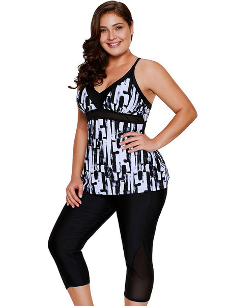 Women's Retro Abstract Print Two Piece Plus Size Tankini Capris Short Swimsuit