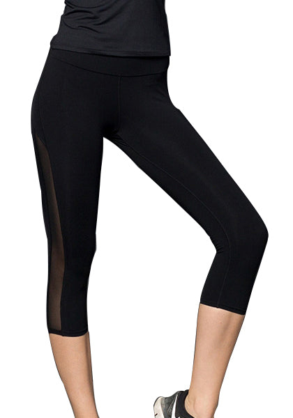 Workout Mesh Patchwork Yoga Capris Leggings