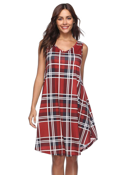 Plaid Printed sleeveless Dress-Dress-2ubest.com-Red-S-2UBest.com