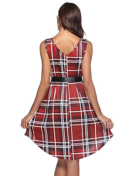 Plaid Printed sleeveless Dress-Dress-2ubest.com-2UBest.com
