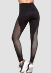 Hight taille couture maille Yoga Pantalon-Mesh Leggings-2ubest.com-Black-S-2UBest.com