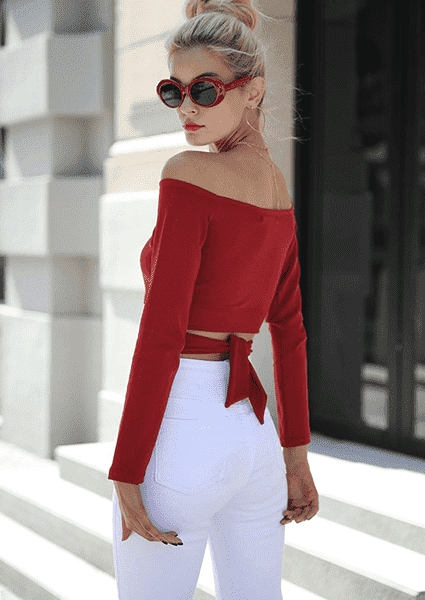 Long Sleeve Off Shoulder Knot T-Shirt-T-shirts-2ubest.com-2UBest.com