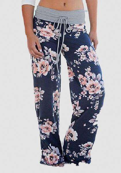 Relaxed Loose Baggy Floral Printed Pants-Long Leggings-2UBest.com-Blue/Pink-S-2UBest.com