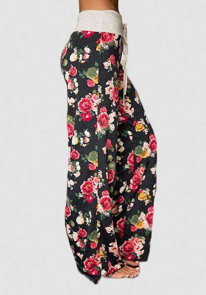 Relaxed Loose Baggy Floral Printed Pants-Long Leggings-2UBest.com-Dark/Red-S-2UBest.com