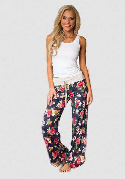Relaxed Loose Baggy Floral Printed Pants-Long Leggings-2UBest.com-Blue/Red-S-2UBest.com