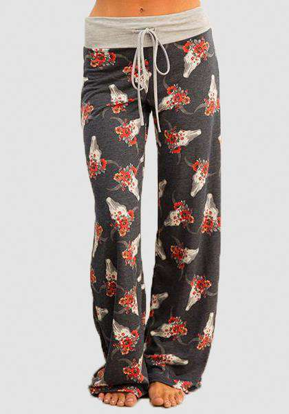 Relaxed Loose Baggy Floral Printed Pants-Long Leggings-2UBest.com-Grey/Red-S-2UBest.com