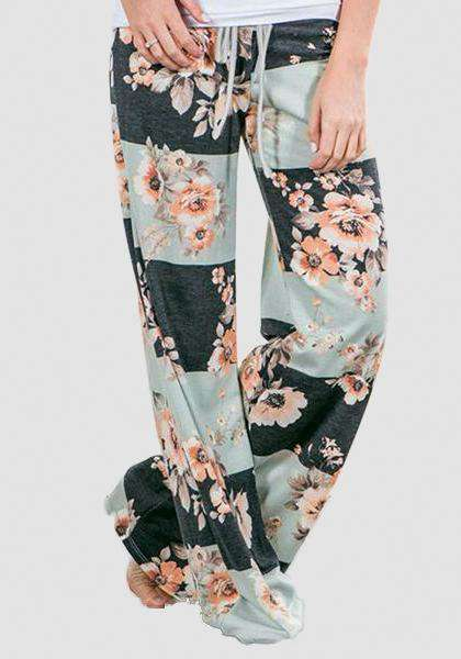 Relaxed Loose Baggy Floral Printed Pants-Long Leggings-2UBest.com-White/Black-S-2UBest.com