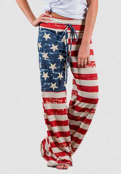 Relaxed Loose Baggy Floral Printed Pants-Long Leggings-2UBest.com-Red/Blue-S-2UBest.com