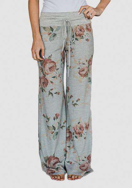 Entspannte lose Baggy Floral bedruckte Hosen-lange Leggings-2UBest.com-Light Grey / Red-S-2UBest.com