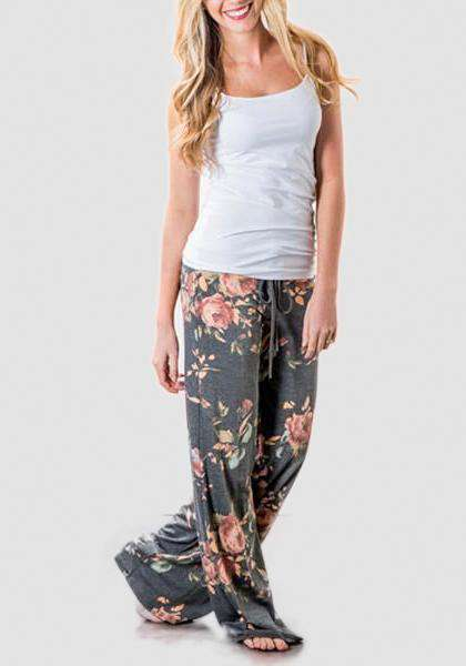 Relaxed Loose Baggy Floral Printed Pants-Long Leggings-2UBest.com-Grey-S-2UBest.com