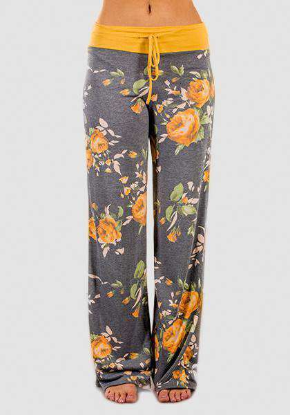 Relaxed Loose Baggy Floral Printed Pants-Long Leggings-2UBest.com-Grey/Yellow-S-2UBest.com
