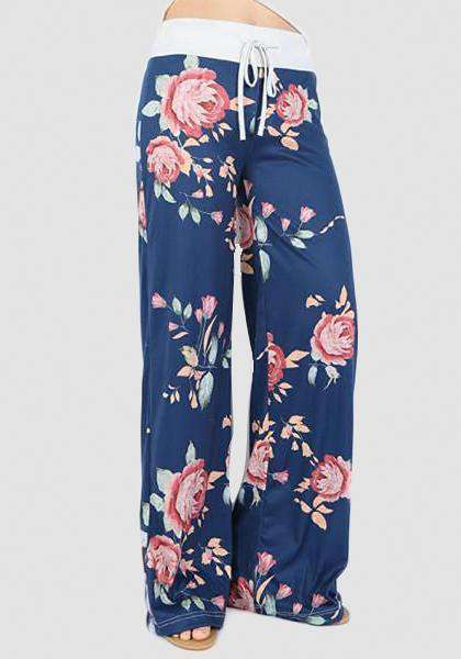 Relaxed Loose Baggy Floral Printed Pants-Long Leggings-2UBest.com-Blue-S-2UBest.com
