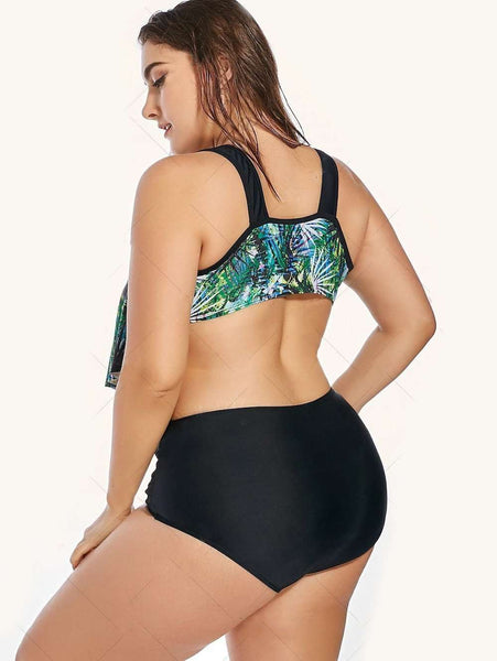 Plus Size Flounce Tropical Printed Bikini Swimsuit