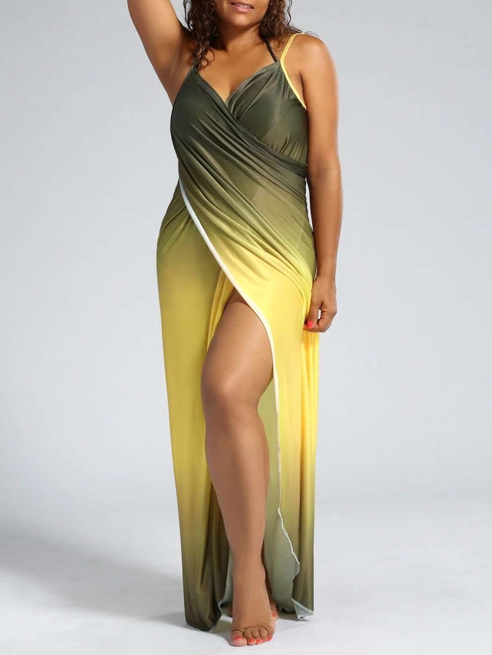 Плюс Размер Ombre Wrap Cover Up Maxi Dress