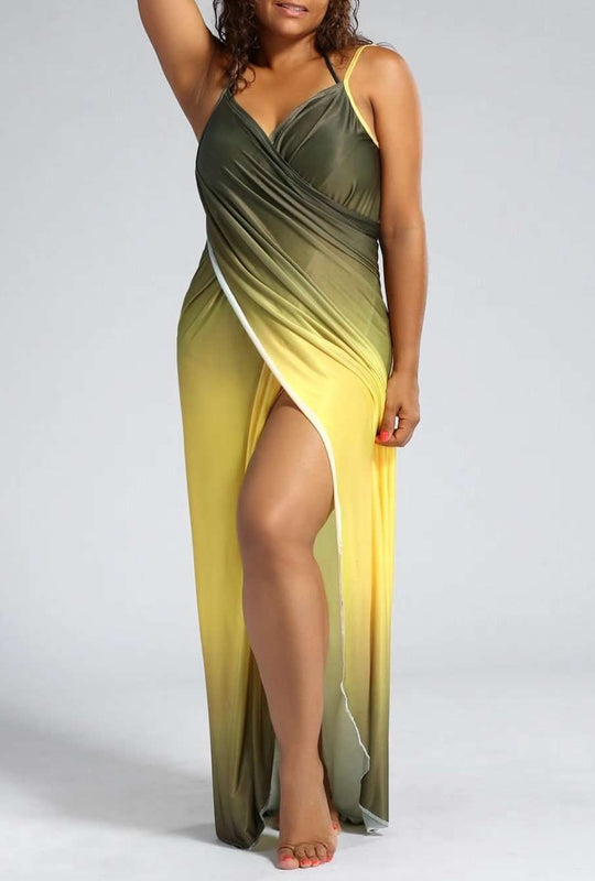 Plus Size Ombre Wrap Cover Up Vestido Maxi