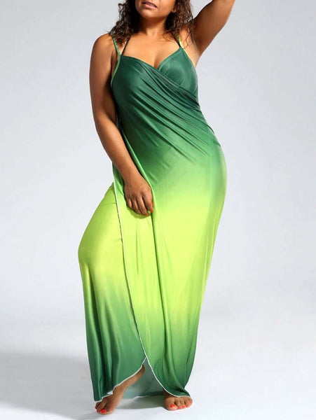 Plus Size Ombre Wrap Cover Up Maxi Dress