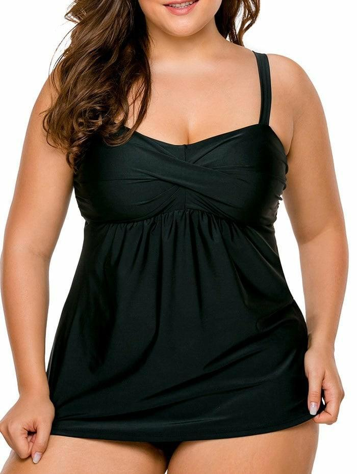 تويست Front Plus Size Tankini Set-Plus Size-2UBest.com-Black-2XL-2UBest.com
