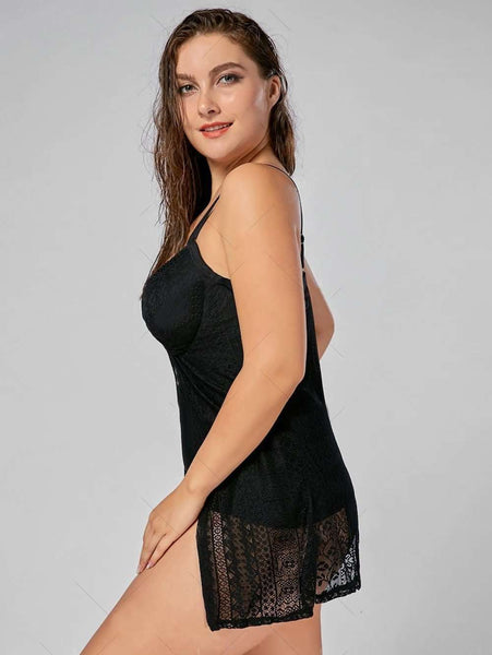 Push Up Underwire Plus Size Lace Tankini