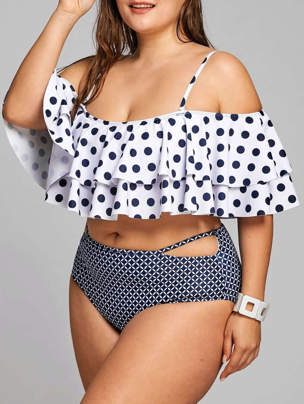 Polka Dot Plus Größe Tiered Volant Bikini