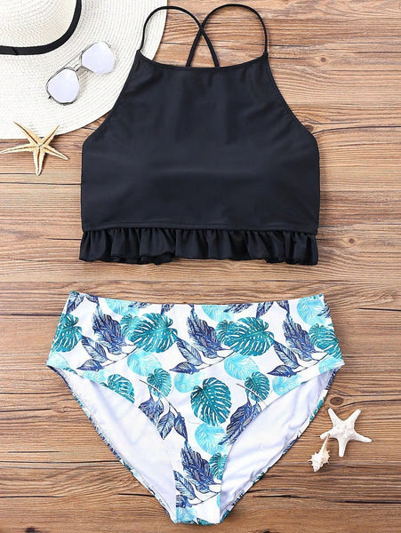 Plus Size Lace Up Ruffle Bikini Set