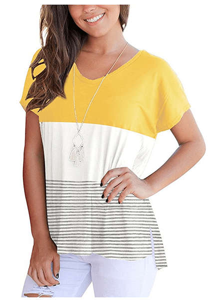 Tri-color Stitching Short Sleeve Striped T-shirt-T-shirts-2ubest.com-Yellow-S-2UBest.com