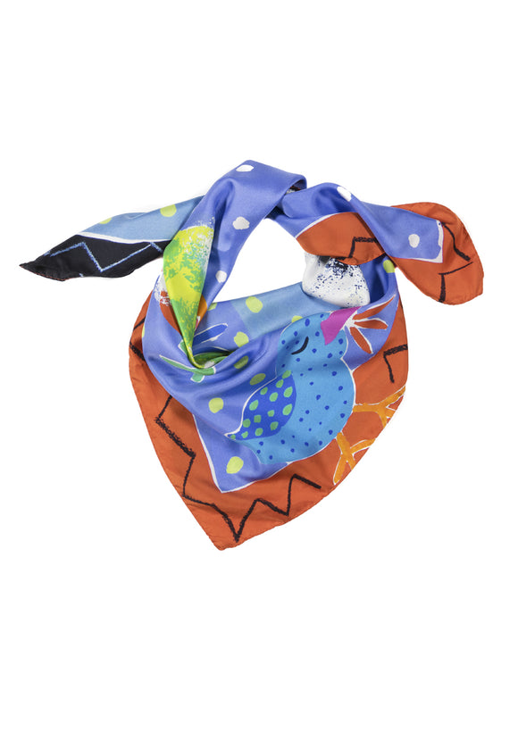 5 Birds bright colours large square silk scarf Emma Greenhill