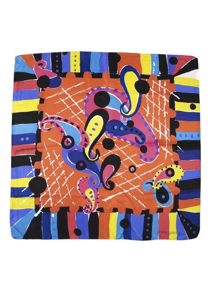 80's Paisley jewel coloured square silk scarf Emma Greenhill