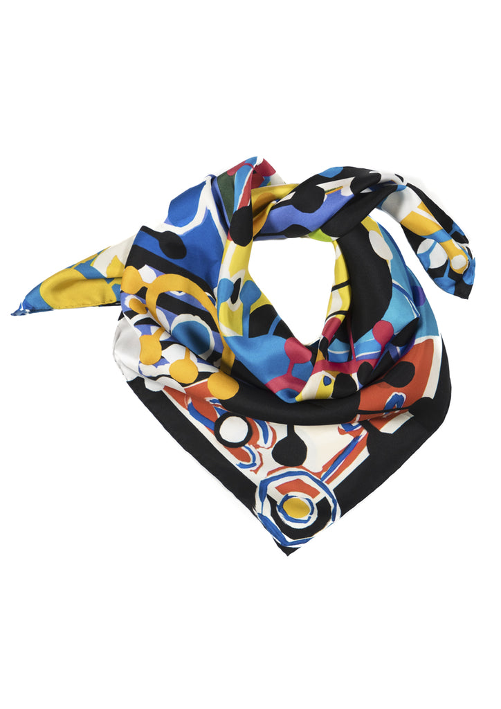 Aliens' Revolt bright coloured knotted silk scarf Emma Greenhill