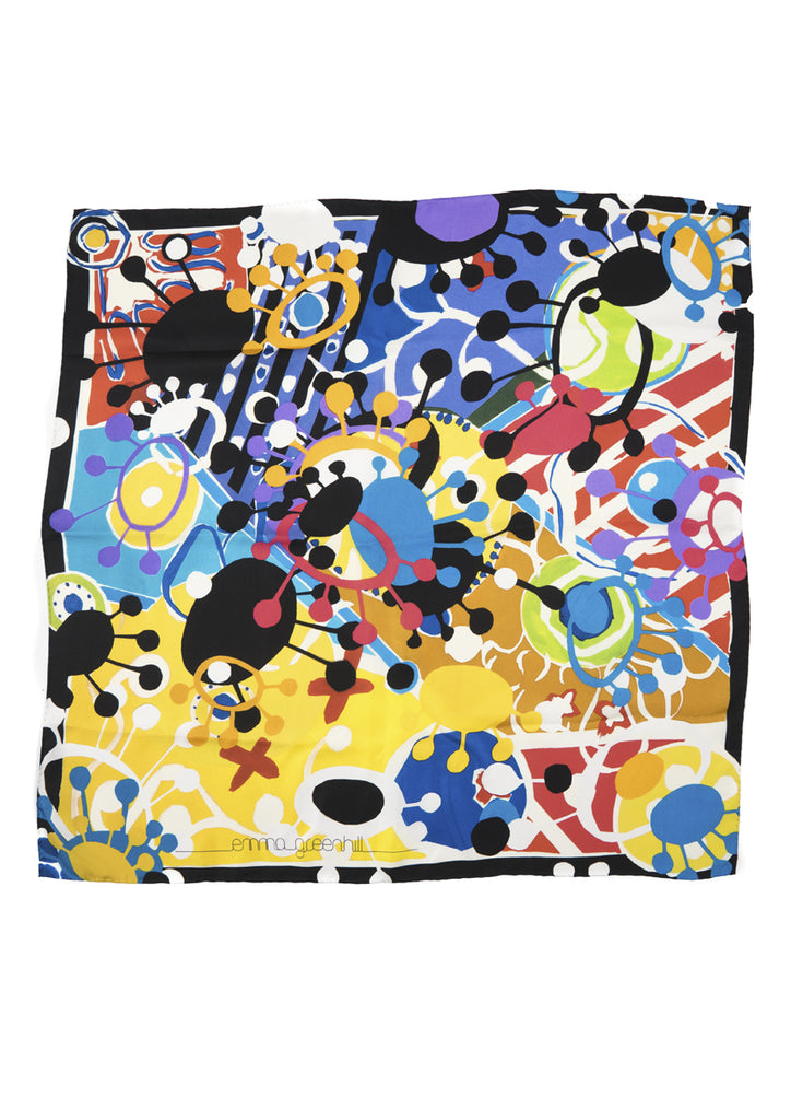 Aliens' Revolt large multi coloured silk scarf Emma Greenhill