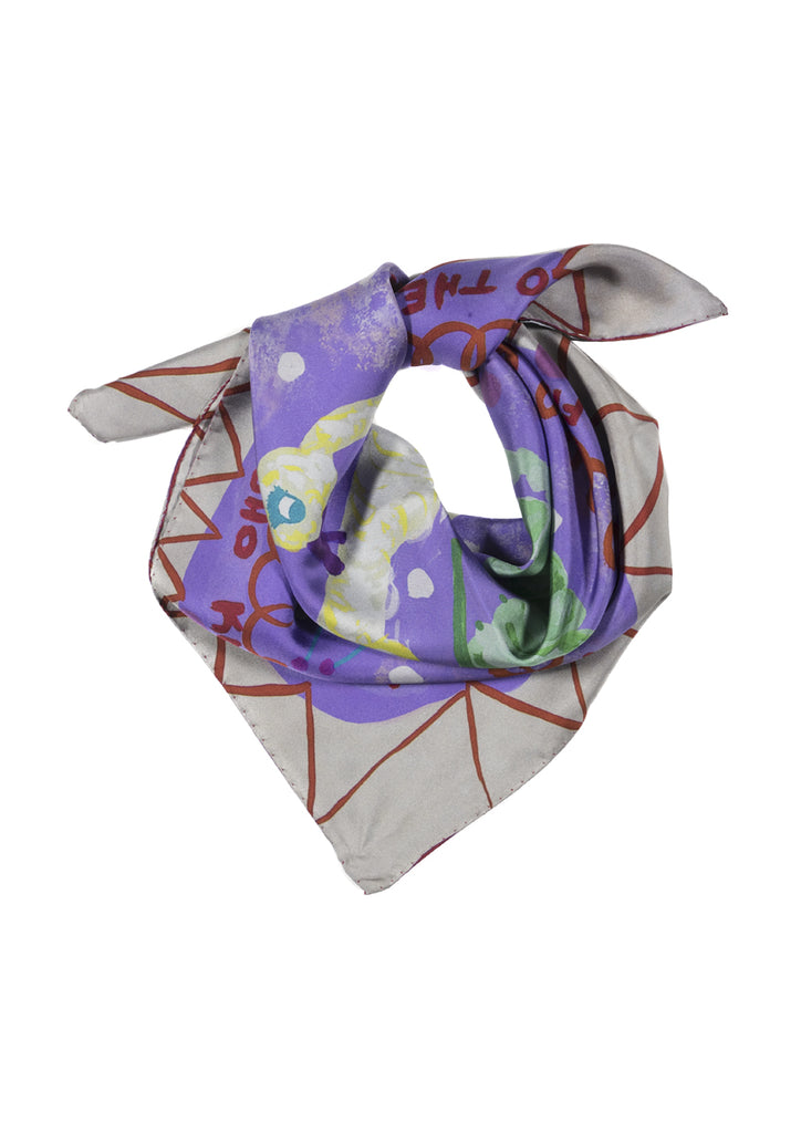 Caterpillar and Swan Square Silk Scarf