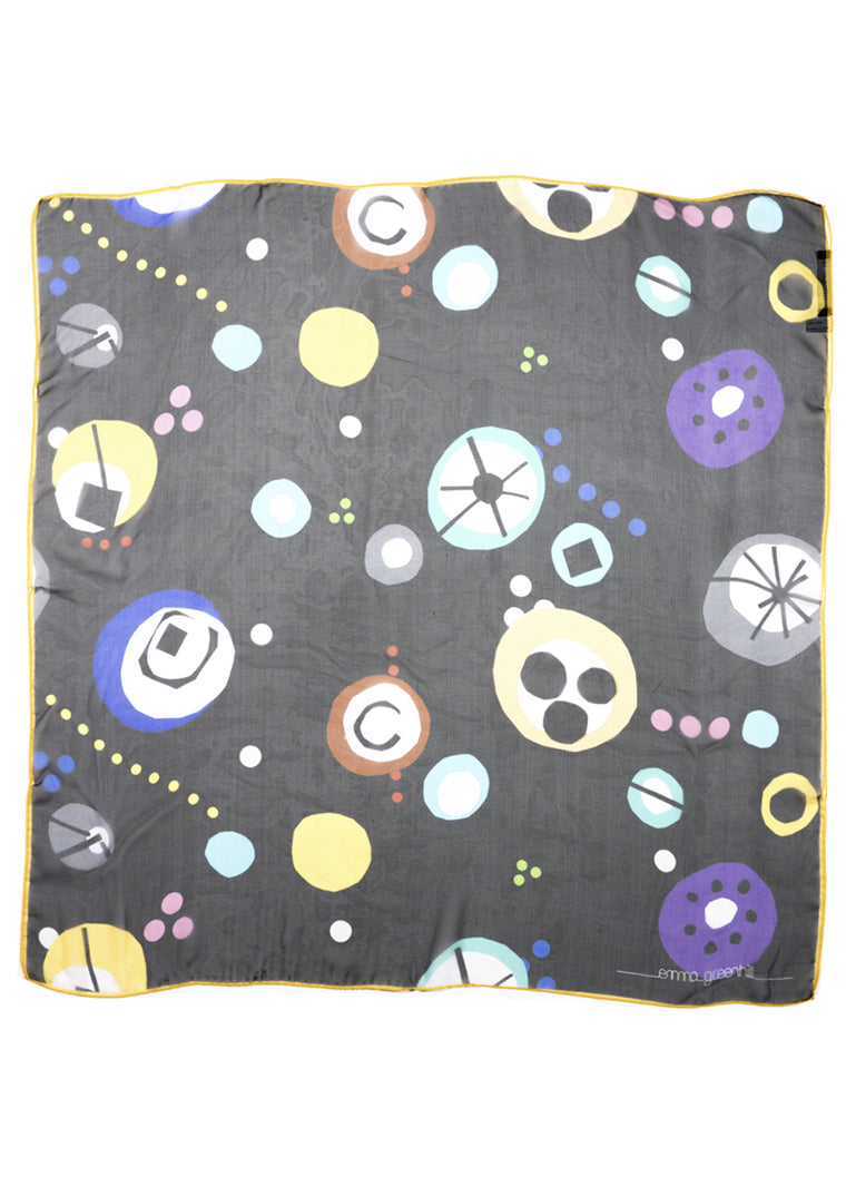 Colourful printed silk chiffon scarf